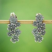 Sterling silver drop earrings, 'Flower Parade' - Floral Sterling Silver Earrings