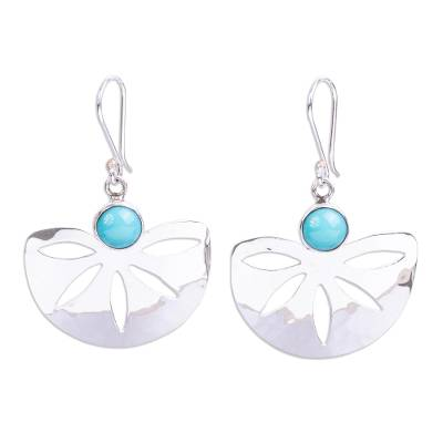 Modern Taxco Silver and Natural Turquoise Earrings