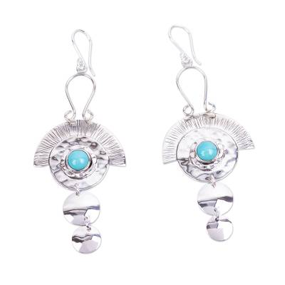 Aztec Style Taxco Silver and Natural Turquoise Earrings