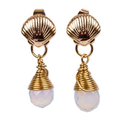 Seashell Motif Moonstone Earrings