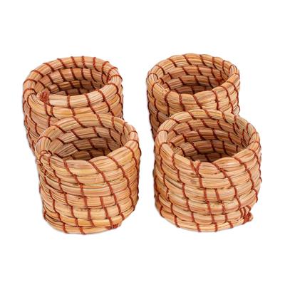 Handwoven Pine Needle Napkin Rings (Set of 4)