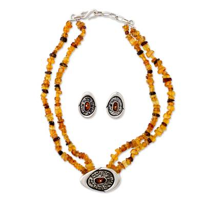 Amber jewelry set, 'Honey Sea' - Amber jewelry set