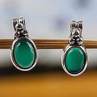 Chrysoprase button earrings, 'Peace & Wisdom' - Chrysoprase button earrings