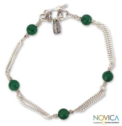 Aventurine link bracelet, Good Luck