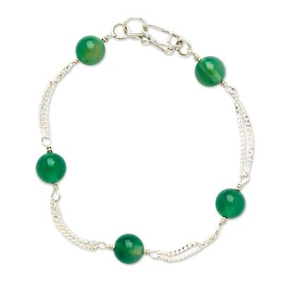 Handcrafted Green Aventurine and Sterling Silver Link Bracelet