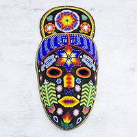 Huichol beaded mask, 'Teruka-Warra' - Handmade Huichol Folk Art Beaded Mask