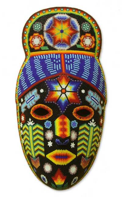 Huichol beaded mask, 'Teruka-Warra' - Handmade Huichol Folk Art Beaded Mask