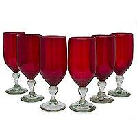 Blown glass goblets, 'Solidarity' (set of 6) - Hand Blown Glass Goblets Red Wine Glasses Set of 6 Mexico