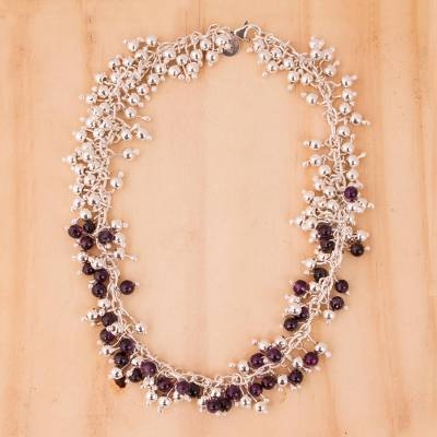 Amethyst chain necklace, 'Romance' - Amethyst chain necklace