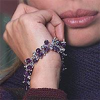 Amethyst bracelet, 'Lavender Rain' - Unique Sterling Silver Polished Amethyst Bracelet