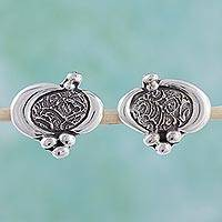Earrings, 'Contempo' - Sterling Silver Button Earrings