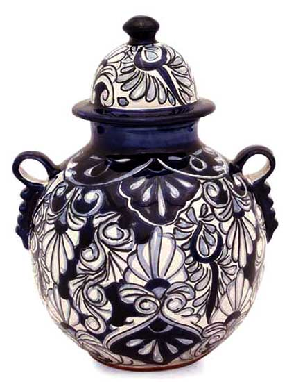 Hand Crafted Talavera Style Ceramic Vase And Lid From Mexico Blue