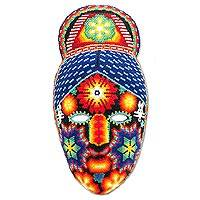'Jicuri Crown,' mask  - Hand Crafted Mexican Hand Beaded Papier Mache Mask