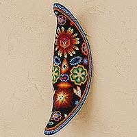 Huichol beaded mask, 'Moon with Sun on the Forehead' - Moon with Sun on the Forehead Huichol Beaded Mask
