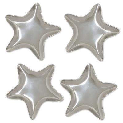 Appetizer plates, 'Stars' (set of 4) - Unique appetiser Dinnerware Plates of aluminium (Set of 4)