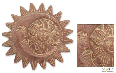 Ceramic wall decor, 'Solar Eclipse' - Ceramic wall decor