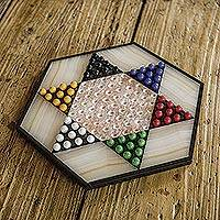 Marble and onyx Chinese checkers, 'Colorful Contrast'