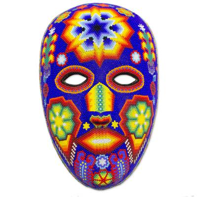 Beadwork mask, 'Estrella' - Beaded Huichol Mask Mexican Folk Art Handmade in Mexico