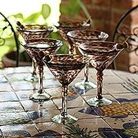 Martini glasses, 'Amethyst Swirl' (set of 6) - Set of 6 Hand Blown Purple Martini Glasses Mexico