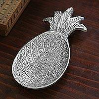 Aluminum spoon rest, 'Pineapple' - Fair Trade Aluminum Spoon Rest Kitchen Accessory