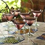 Hand Blown Martini Glasses Purple Set of 6 Mexico, 'Amethyst'