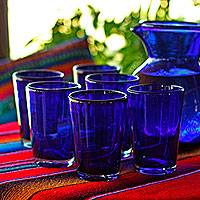 Drinking glasses, 'Cobalt Angles' (set of 6) - Set of 6 Recycled Glass Tumblers