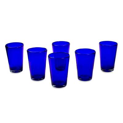 Drinking glasses, 'Cobalt Angles' (set of 6) - Handblown Recycled Glass Tumbler Drinkware (Set of 6) Blue