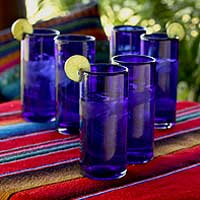 Blown glass highball glasses, 'Pure Cobalt' (set of 6) - Fair Trade Glassware Set from Mexico (Set of 6)