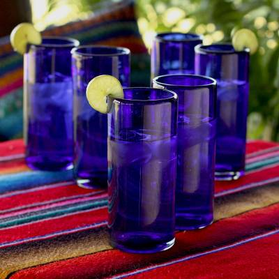 Blown glass highball glasses, 'Pure Cobalt' (set of 6) - Blue Handblown Glass Cocktail Drinkware (Set of 6)