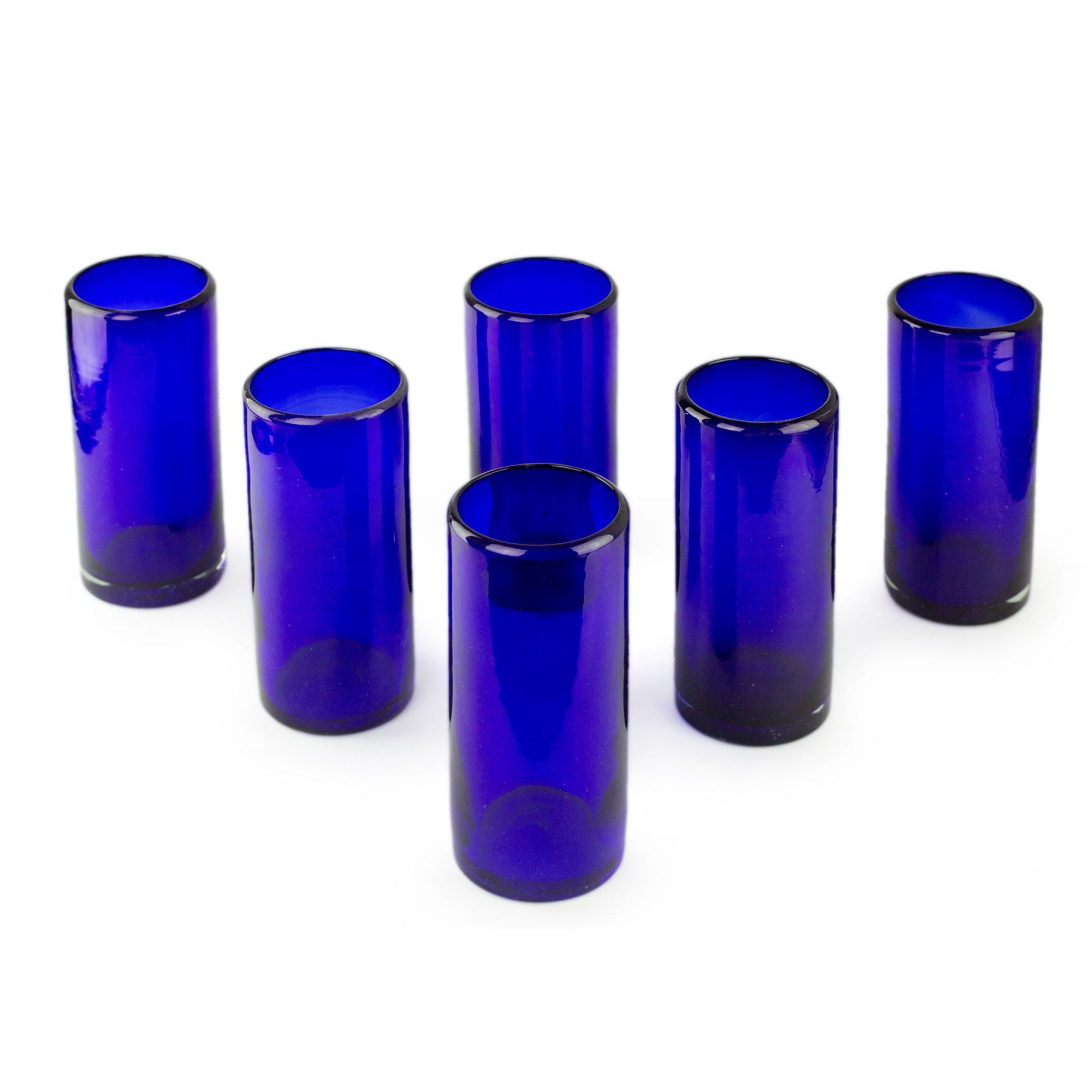 blue handblown glass cocktail drinkware set of 6 pure cobalt novica