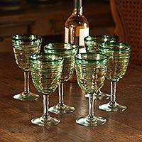 Goblets, 'Green Spiral' (set of 6)