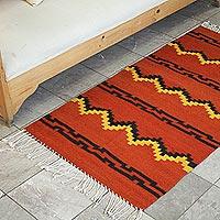 Zapotec woo rug, 'Fire' (3x5) - Zapotec woo rug (3x5)