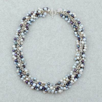 Pearl beaded necklace, 'Taxco Rain' - Pearl beaded necklace