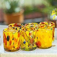 Tumblers, 'Liquid Confetti' (set of 6) - Glass Tumblers from Mexico