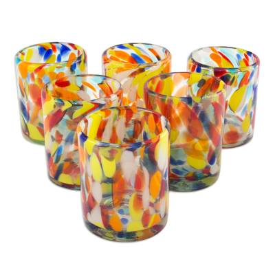 Tumblers, 'Liquid Confetti' (set of 6) - Unique Handblown Recycled Glass Juice Drinkware from Mexico
