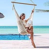 Cotton hammock swing chair, 'Deserted Beach' - Unique Handcrafted Ivory Cotton Swing Hammock from Mexico