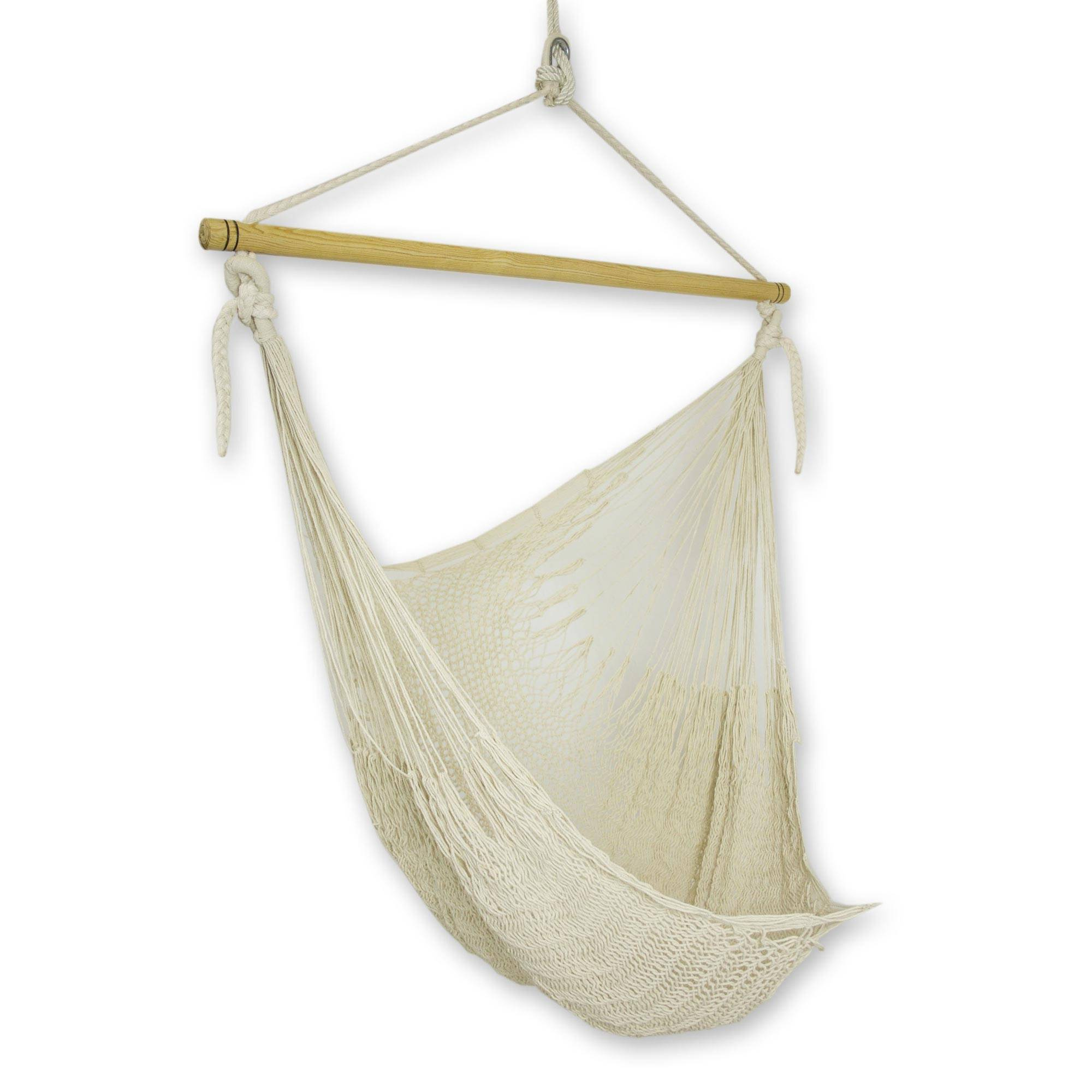 Unique Mexican Ivory Cotton Swing Hammock Deserted Beach