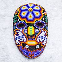 Beadwork mask, 'Shaman Deer' - Authentic Huichol Multicolor Beadwork Mask