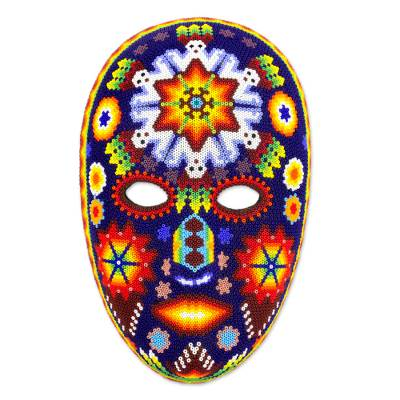 Beadwork mask, 'Danza Jicuri' - Mexican Peyote Theme Authentic Huichol Beaded Mask