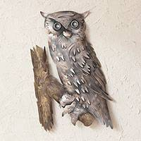 Iron wall adornment, 'Curious Owl' - Hand Crafted Steel Wall Art