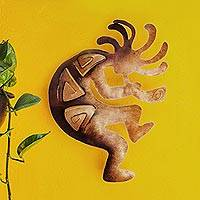 Iron wall adornment, 'Kokopelli Peace' (medium) - Handcrafted Steel Wall Art (Medium)