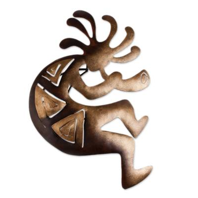 Iron wall adornment, 'Kokopelli Peace' (medium) - Cultural Steel Wall Art Musician (Medium)