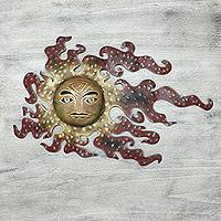 Iron wall adornment 'Placid Reflections of the Sun' (large) - Collectible Mexican Sun Wall Sculpture (Large)