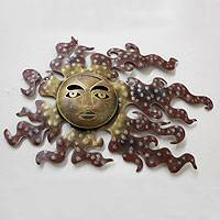 Iron wall adornment 'Placid Reflections of the Sun' (medium) - Metal Sculpted Wall Art