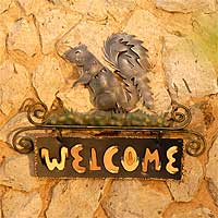 Iron welcome sign, 'Squirrel's Happy Welcome' - Steel Welcome Sign Outdoor Living from Mexico