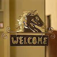 Iron welcome sign, 'Golden Horse Welcome'