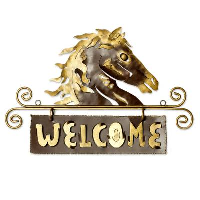 Iron welcome sign, 'Golden Horse Welcome' - Steel Black Welcome Sign Outdoor Living Horse