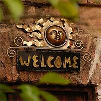 Iron welcome sign, 'Peaceful Welcome' - Handcrafted Sun and Moon Steel Welcome Sign Outdoor Living