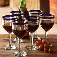 Wine goblets, 'Blue Can-Cun' (set of 6) - Recycled Eco-Friendly Glass Goblets (Set of 6)