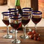 Handblown Glass Recycled Wine Drinkware Goblets (Set of 6), 'Blue Can-Cun'